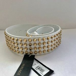 Versace White Studded Belt